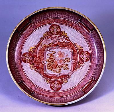 赤絵金彩鳳凰人物図鉦鉢