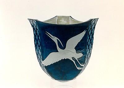 藍九谷鷺三態釣花瓶