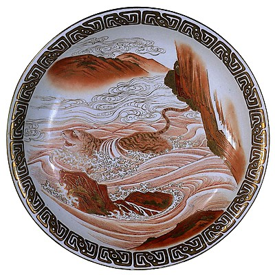 赤絵金彩虎渡海図平鉢