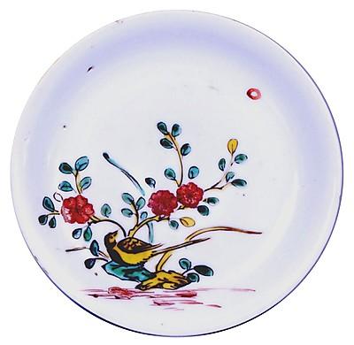 色絵小禽山茶花文皿