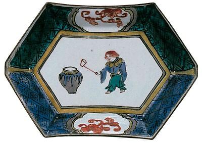 色絵猩々図六角皿
