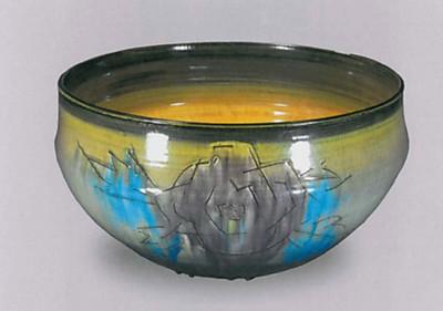 彩釉陶牡丹文深鉢