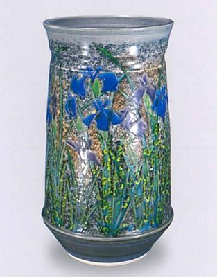 彩釉陶花菖蒲器