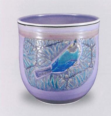 紫釉小禽文深鉢