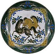 双馬図平鉢