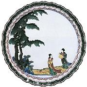 色絵樹下美人図輪花中皿