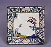 色絵松に人物図四方角皿