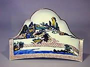 色絵山水図富士形皿