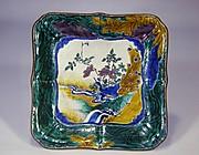 牡丹に流水文孔雀図額鉢