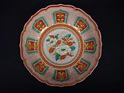 赤絵椿文輪花鉢